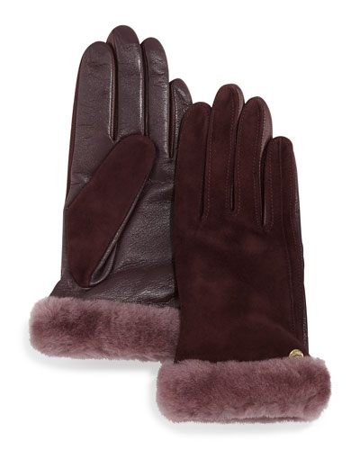 Ugg Australia Classic Leather/Suede Smart Gloves with Shearling, Port