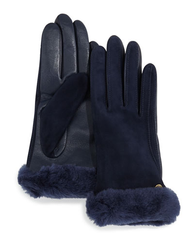 Ugg Australia Classic Leather/Suede Smart Gloves with Shearling, Peacoat Navy