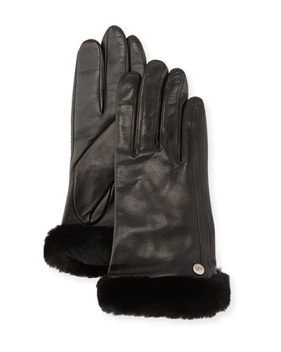 UGG Australia Classic Fur-Trim Leather Smart Gloves, Black