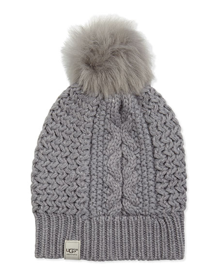 Nyla Cable Fur-Pompom Beanie, Gray