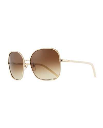 Chloe Nerine Oversized Sunglasses with Leather, Gold/Cream
