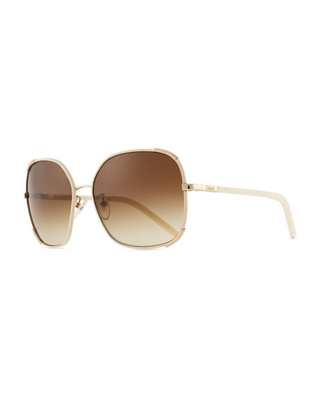 a5f8f8da307 Chloe Nerine Oversized Sunglasses with Leather