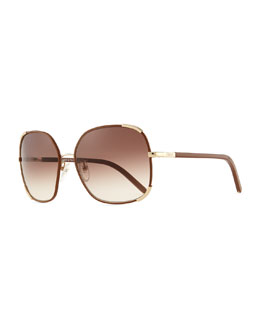 Chloe Nerine Oversized Sunglasses with Leather, Gold/Biscuit