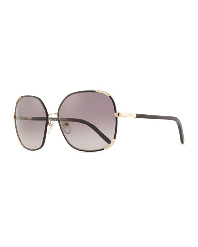 Chloe Nerine Oversized Sunglasses with Leather, Gold/Black