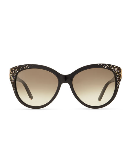 Suzanna Studded Cat-Eye Sunglasses, Black