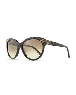 Chloe Suzanna Studded Cat-Eye Sunglasses, Black