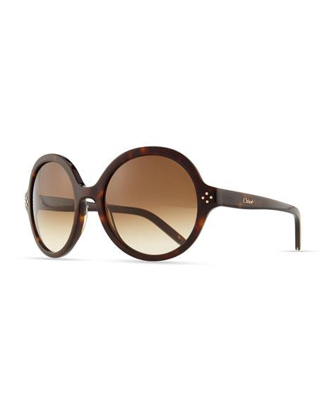 Boxwood Round Sunglasses, Tortoise