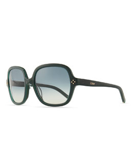 Chloe Boxwood Square Sunglasses, Green