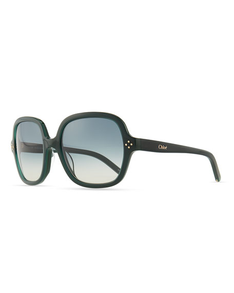 Boxwood Square Sunglasses, Green