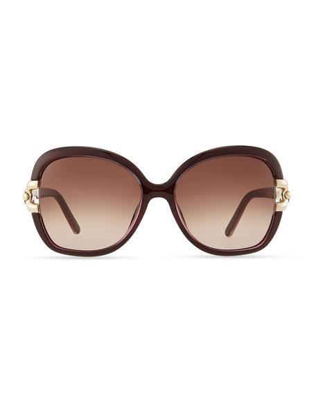 Brunelle Square Sunglasses, Plum