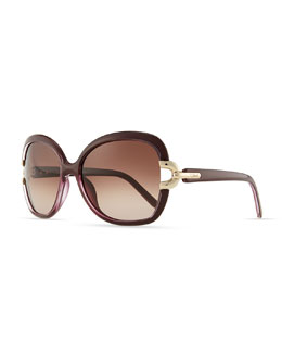 Chloe Brunelle Square Sunglasses, Plum