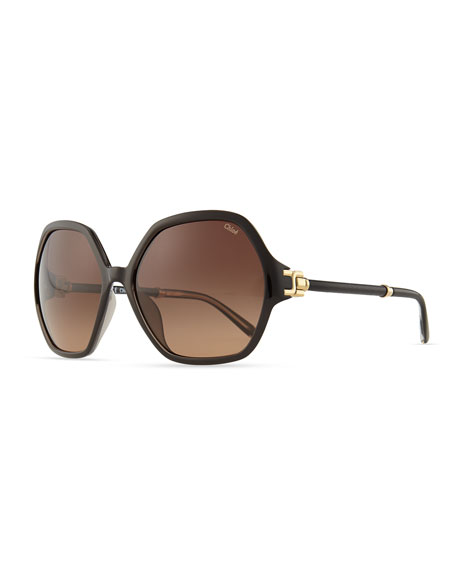 Marcie Oversized Sunglasses, Black