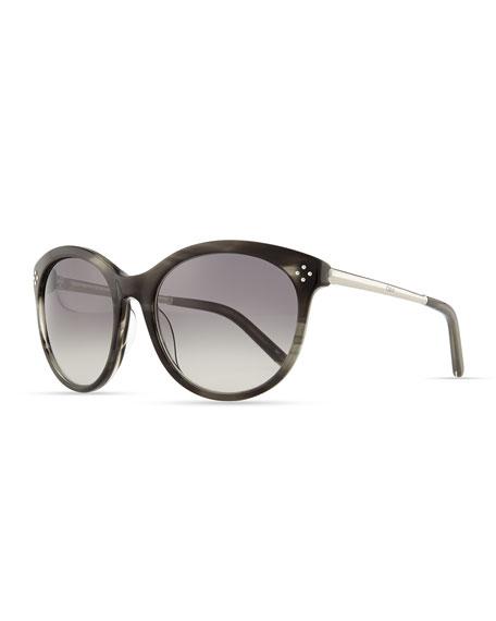 Boxwood Cat-Eye Sunglasses, Gray Stripe