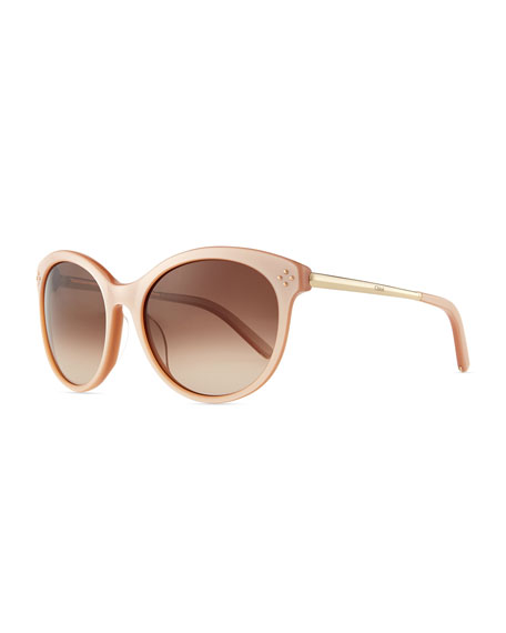Chloe Boxwood Cat-Eye Sunglasses, Nude