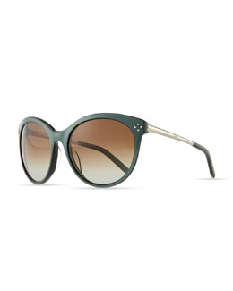 Chloe Boxwood Cat-Eye Sunglasses, Green