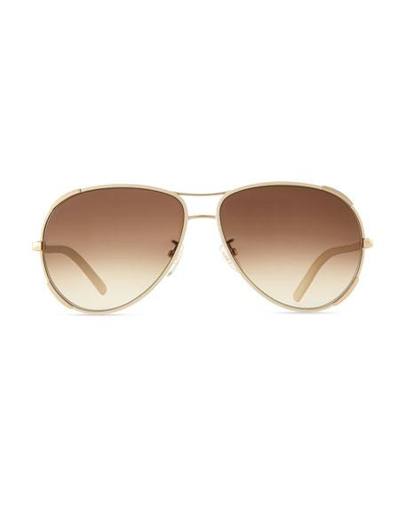 Nerine Aviator Sunglasses with Leather, Gold/Cream