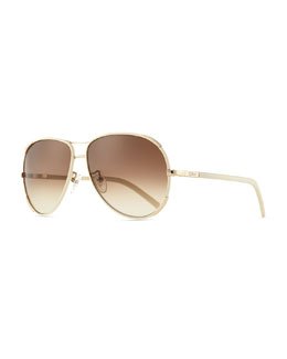 Chloe Nerine Aviator Sunglasses with Leather, Gold/Cream