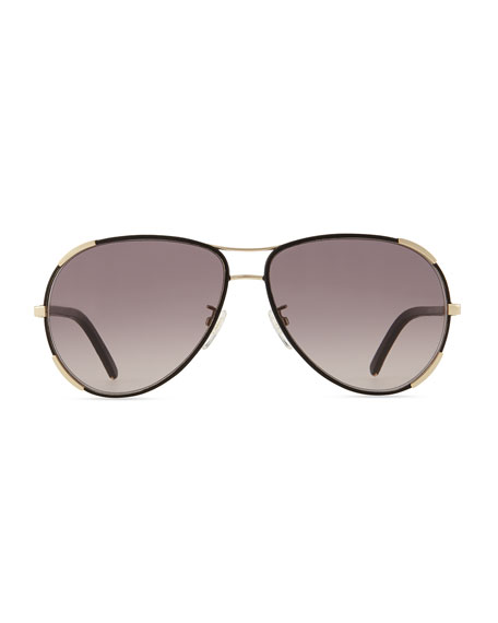 Nerine Aviator Sunglasses with Leather, Gold/Black