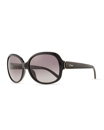 Chloe Calla Rounded Sunglasses, Black