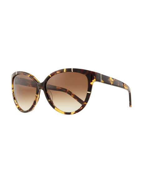Caspia Cat-Eye Sunglasses, Tortoise