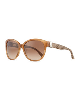 Salvatore Ferragamo Vara Sunglasses with Snakeskin Arms, Striped Honey
