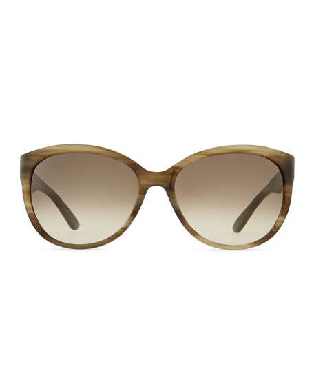 Vara Sunglasses with Snakeskin Arms, Striped Khaki