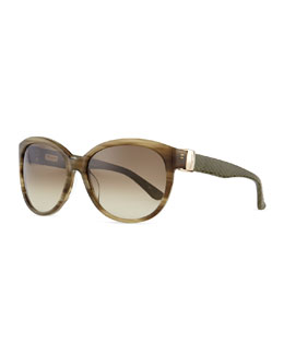 Salvatore Ferragamo Vara Sunglasses with Snakeskin Arms, Striped Khaki