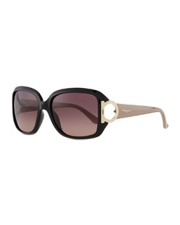 Salvatore Ferragamo Gancino Horseshoe-Temple Sunglasses, Black