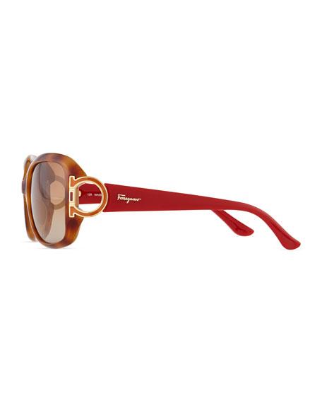 Gancino Horseshoe-Temple Sunglasses, Blonde Havana