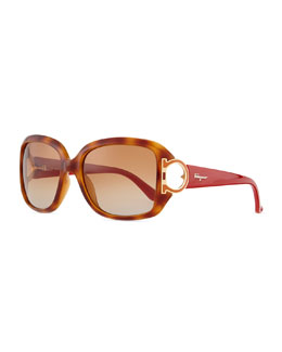 Salvatore Ferragamo Gancino Horseshoe-Temple Sunglasses, Blonde Havana