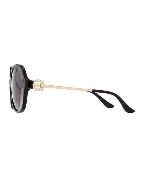 Crystal Gancio Horseshoe Sunglasses, Black