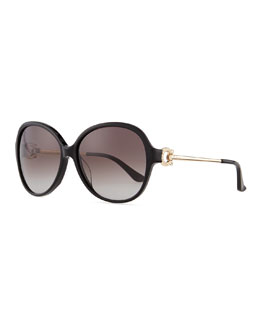 Salvatore Ferragamo Crystal Gancino Horseshoe Sunglasses, Black