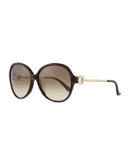 Salvatore Ferragamo Crystal Gancino Horseshoe Sunglasses, Brown Horn