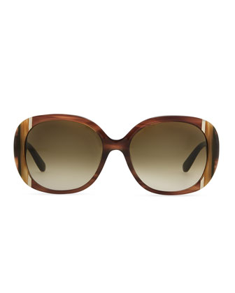 Salvatore Ferragamo Round Striped Acetate Sunglasses, Brown/Multi