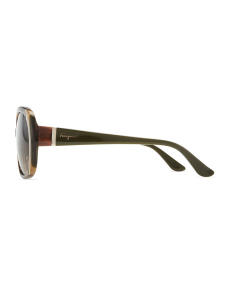 Round Striped Acetate Sunglasses, Brown/Multi