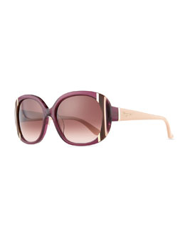 Salvatore Ferragamo Striped Round Sunglasses, Shiny Violet