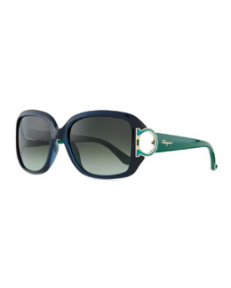 Salvatore Ferragamo Gancino Horseshoe-Temple Sunglasses, Blue