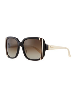 Salvatore Ferragamo Striped Square Sunglasses, Black