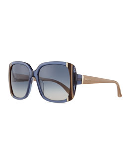 Salvatore Ferragamo Striped Square Sunglasses, Blue