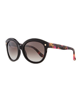 Salvatore Ferragamo Mini-Gancini Temple Sunglasses, Black/Multi