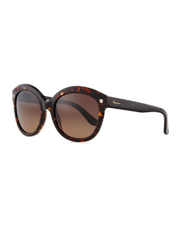 Salvatore Ferragamo Mini-Gancini Temple Sunglasses, Tortoise/Black