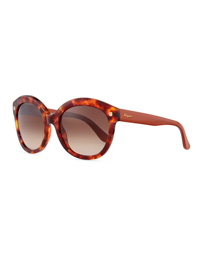 Salvatore Ferragamo Mini-Gancini Temple Sunglasses, Brown Tortoise