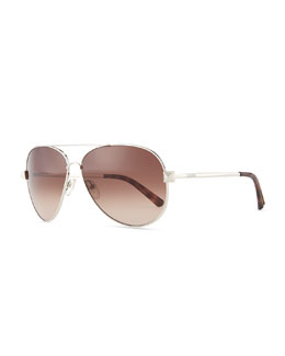 Valentino Metal Aviator Sunglasses with Rockstud Temples, Silvertone