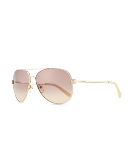 Valentino Metal Aviator Sunglasses with Rockstud Temples, Light Gold