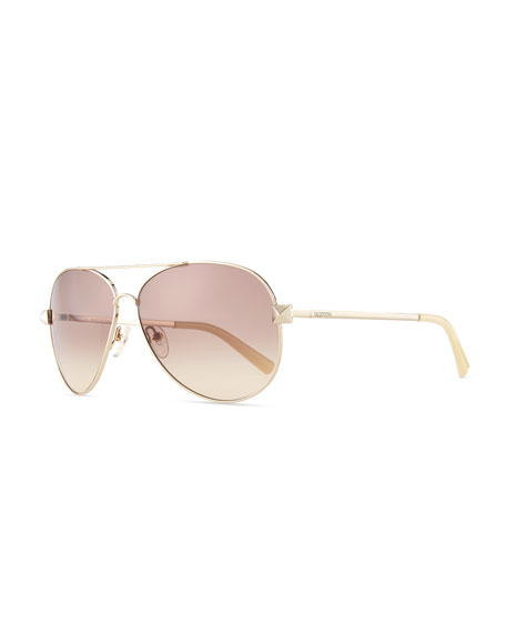 Metal Aviator Sunglasses with Rockstud Temples, Light Gold