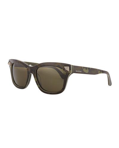 Valentino Camo Resin Sunglasses with Rockstud Temple, Green