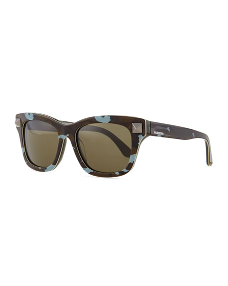 Camo Resin Sunglasses with Rockstud Temple, Nude