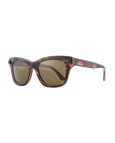 Valentino Camo Resin Sunglasses with Rockstud Temple, Fuchsia