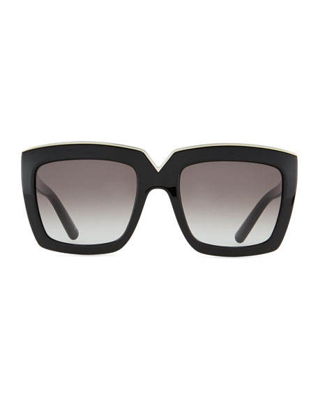 V-Notched Thick Square Sunglasses, Black
