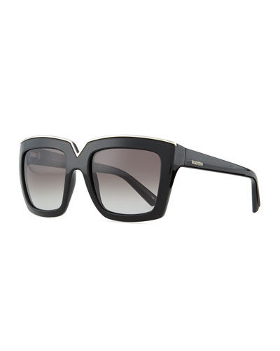 Valentino V-Notched Thick Square Sunglasses, Black